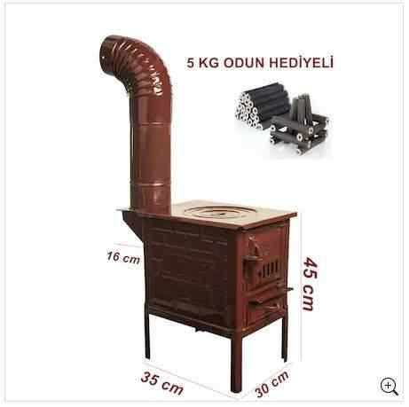 Mini Emaye Kuzine Odun Sobası-- 5 KG ODUN HEDİYELİ--